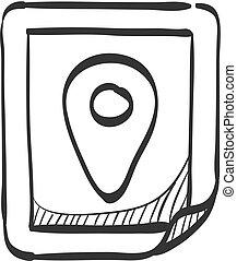 地図, スケッチ, ピン, -, 位置, アイコン