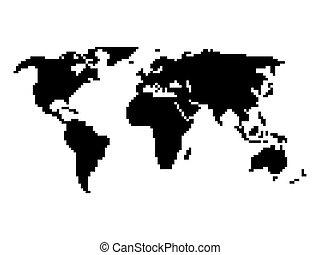 地図, スタイル, ピクセル, 世界