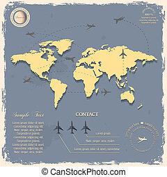 地図, スタイル, 型, 航空機, 世界, デザイン