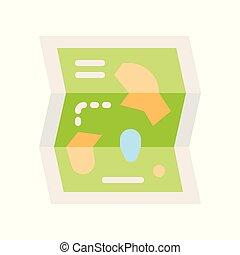 地図, スタイル, 平ら, 公園, 関係した, ベクトル, アイコン, 娯楽