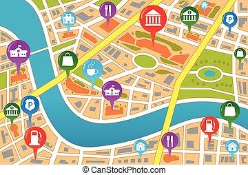 地図, スタイル, gps, 都市