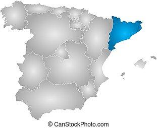 地図, スペイン, -, カタロニア