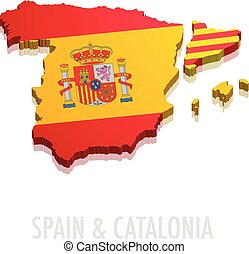 地図, スペイン, カタロニア