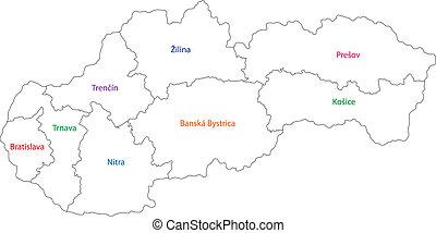 地図, スロバキア, アウトライン