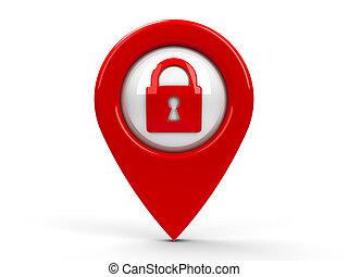地図, セキュリティー, ポインター, 赤