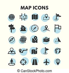 地図, セット, アイコン