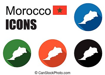 地図, セット, カラフルである, 平ら, アイコン, モロッコ, 州