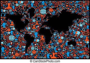 地図, セット, ネットワーク, 媒体, 地球, 社会, アイコン
