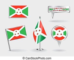 地図, セット, ピン, ベクトル, burundi, flags., ポインター, アイコン