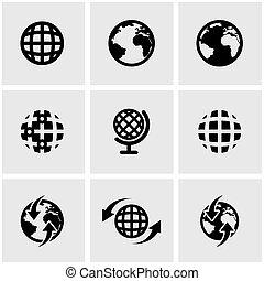地図, セット, ベクトル, 黒, 世界, アイコン