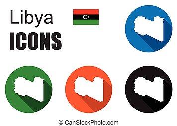 地図, セット, リビア, カラフルである, 平ら, アイコン, 州
