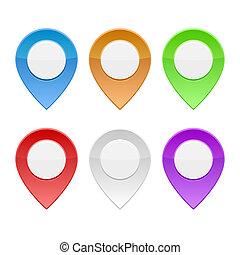 地図, セット, 色, ポインター, バックグラウンド。, ベクトル, 白