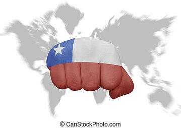 地図, チリ, 背景, 国旗, 握りこぶし, 世界