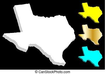 地図, テキサス, 3d
