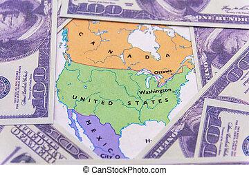地図, ドル, アメリカ人, 私達