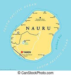 地図, ナウル, 政治的である