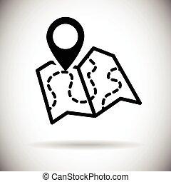 地図, ナビゲーション, 網, アイコン