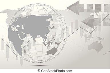 地図, ネットワーク, ポイント, 世界的である, connection., 世界, 線