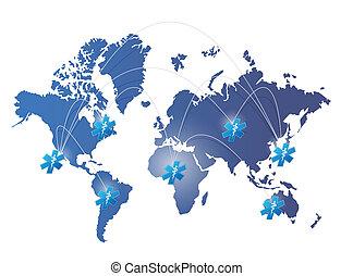 地図, ネットワーク, 医療のイラスト, デザイン, 世界