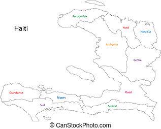 地図, ハイチ, アウトライン