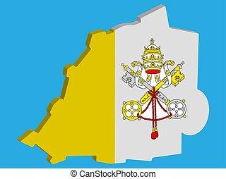 地図, バチカン 都市, ベクトル, 3d, 旗