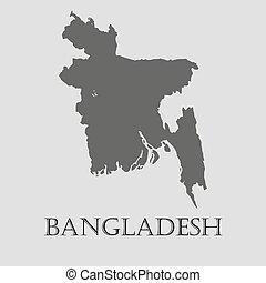 地図, バングラデシュ, -, イラスト, ベクトル, 黒