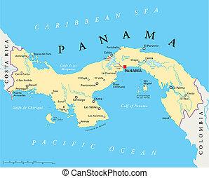 地図, パナマ, 政治的である