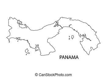 地図, パナマ, 黒, アウトライン