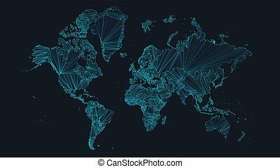 地図, ビジネス, 未来派, 概念, ノード, interconnections, ネットワーク, 背景, イラスト, 技術, ベクトル, 世界, 世界的である