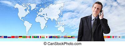 地図, ビジネス, 話し, 電話, 背景, 連絡, インターナショナル, 人