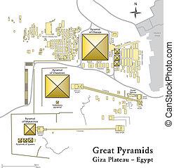 地図, ピラミッド, ギザ