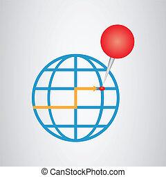 地図, ピン, 地球