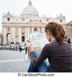 地図, ピーター, 女性, 都市, 勉強, st. 。, 若い, ローマ, 広場, かなり, バチカン, 観光客