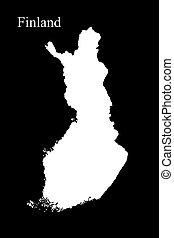 地図, フィンランド, 隔離された, イラスト, 黒い背景, 3d