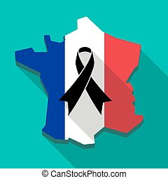 地図, フランスの旗, 黒, リボン, アイコン