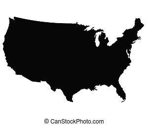 地図, ベクトル, アウトライン, アメリカ