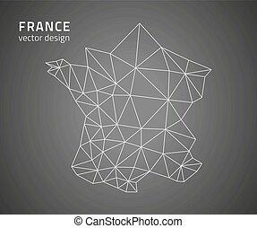 地図, ベクトル, アウトライン, フランス