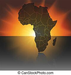 地図, ベクトル, アフリカ, 日没, 背景