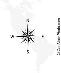 地図, ベクトル, アメリカ, コンパス