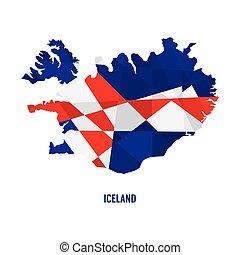 地図, ベクトル, イラスト, アイスランド
