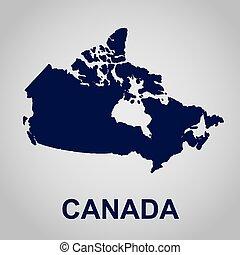 地図, ベクトル, イラスト, カナダ