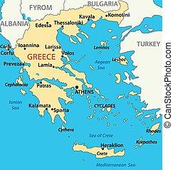 地図, ベクトル, -, イラスト, ギリシャ