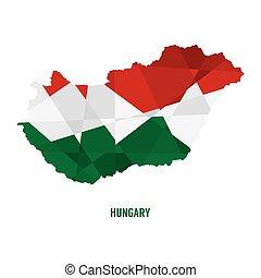 地図, ベクトル, イラスト, ハンガリー