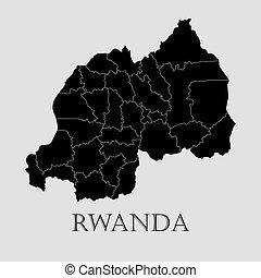 地図, ベクトル, -, イラスト, rwanda, 黒