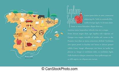 地図, ベクトル, スペイン, テンプレート, イラスト