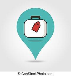 地図, ベクトル, スーツケース, ピン, アイコン