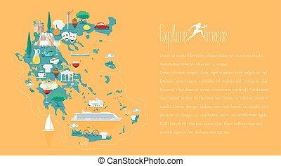 地図, ベクトル, テンプレート, イラスト, ギリシャ