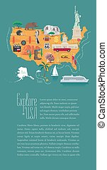 地図, ベクトル, デザイン, アメリカ, イラスト