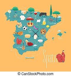 地図, ベクトル, デザイン, スペイン, イラスト