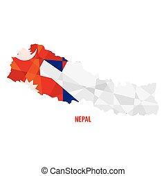 地図, ベクトル, ネパール, イラスト